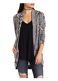 Marled Print Cardigan Sweater