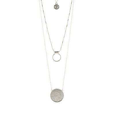 Diamante & Circle Layering Necklaces