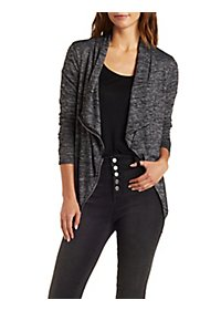 Zipper-Trim Marled Cascade Cardigan