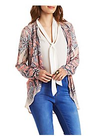 Paisley Print Cocoon Cardigan