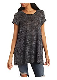 Marled Graphic Trapeze Top
