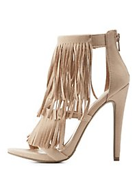 Three-Strap Fringe Heels