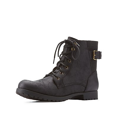 Distressed Back Gore Combat Boots