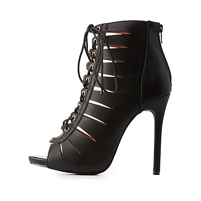 Lace-Up Cut-Out Dress Sandals