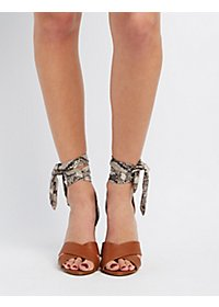 Faux Snakeskin & Chunky Heel Dress Sandals