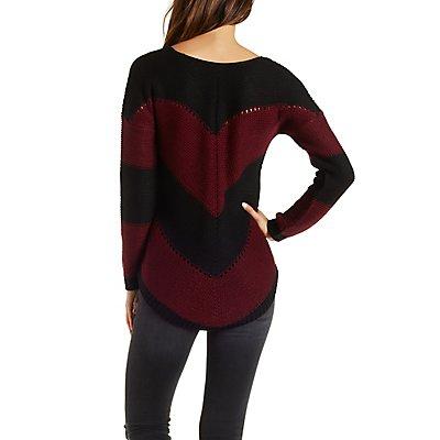 Chevron Stripe Pullover Sweater