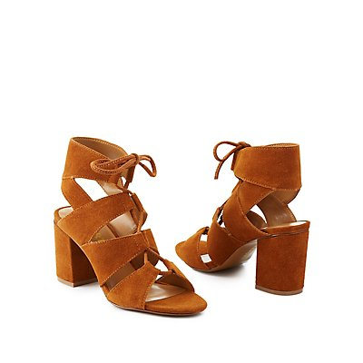 Report Lace-Up Chunky Heel Sandals