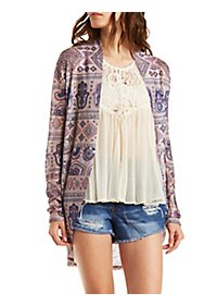 Mixed Print Cocoon Cardigan