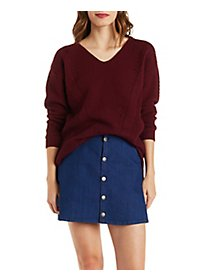 Mixed Stitch Dropped Shoulder Pullover Sweater