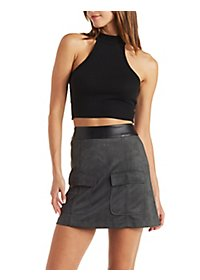 Ribbed Mock Neck Racer Crop Top