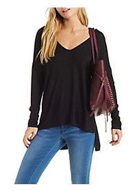 Classic V-Neck Top with Dropped Shoulders