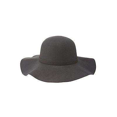 Tied Felt Floppy Hat