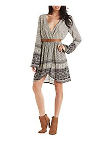 Border Print Surplice Dress