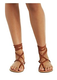 Lace-Up Toe Loop Sandals