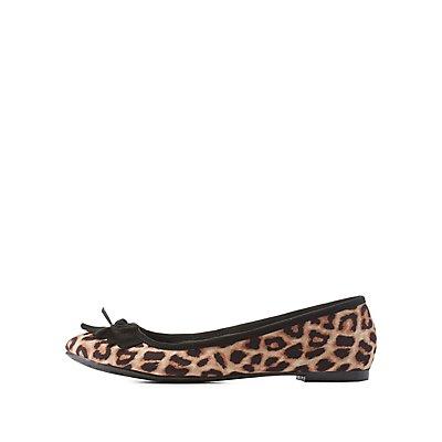 Qupid Fringe-Bib Leopard Print Ballet Flats