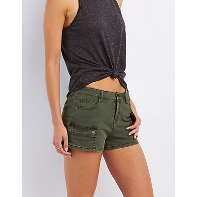 Colored Denim Cargo Shorts