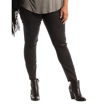 """Plus Size Refuge """"Ankle Skinny"""" Slit Knee Jeans"""