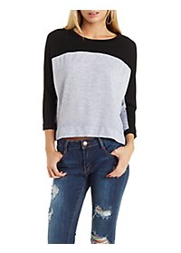 French Terry Color Block Pullover Sweatshirt