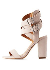Double Buckle Ankle Wrap Dress Sandals
