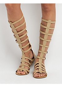 Knee-High Buckled Gladiator Sandals