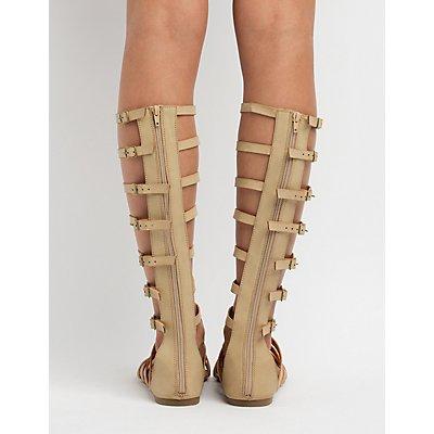 Knee-High Buckled Gladiator Sandals