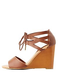 Bamboo Lace-Up Wedge Sandals