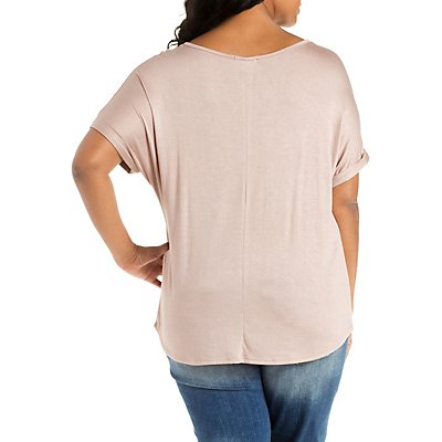 Plus Size Notched Neck Boyfriend Tee