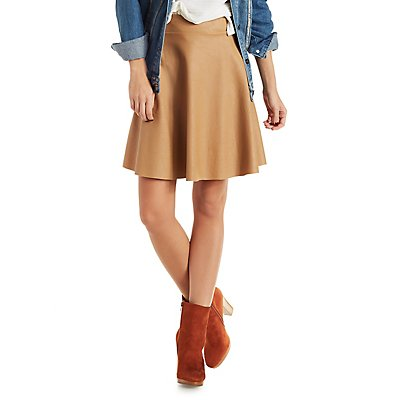 Jella Couture Faux Leather Skater Skirt