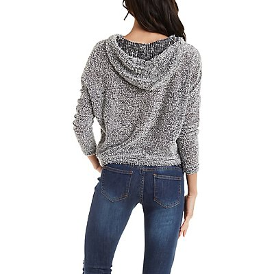 Fuzzy Boucle Cropped Boxy Hoodie