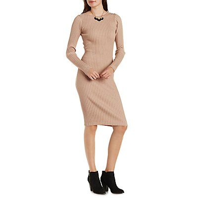 Ribbed Long Sleeve Midi Dress