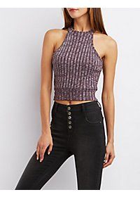 Marled Racer Crop Top