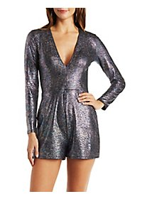 Iridescent Plunging Long Sleeve Romper