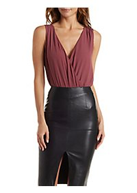 Chain-Back Surplice Bodysuit