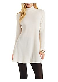 Waffle Knit Turtleneck Shift Dress