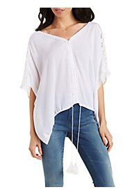 Lace-Inset V-Neck Top