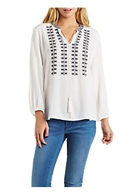 Embroidered Tassel-Tied Peasant Top