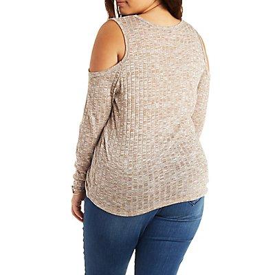 Plus Size Ribbed Cold Shoulder V-Neck Top