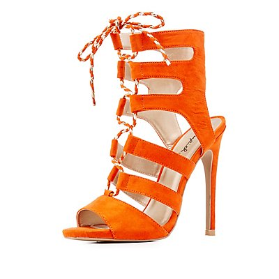 Qupid Caged Lace-Up Sandals