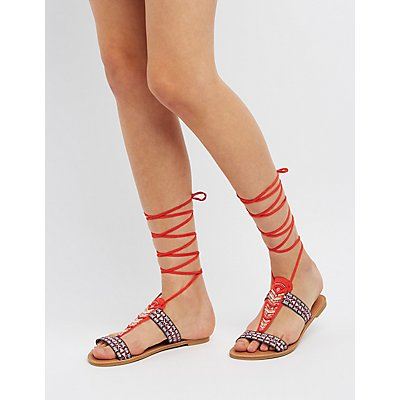 Qupid Beaded Lace-Up Sandals