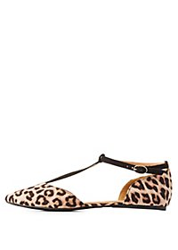 Leopard Print Pointed Toe T-Strap Flats