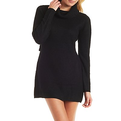 Open Back Cowl Neck Sweater Dress
