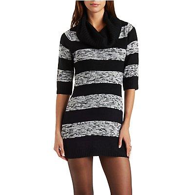 Cowl Neck Striped Sweater Dress