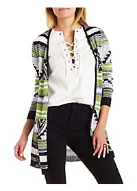 Geometric Pattern Open Cardigan