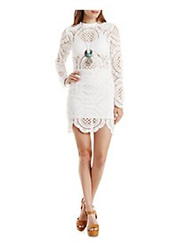 The Vintage Shop Mock Neck Crochet Dress