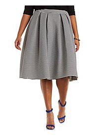 Plus Size Pleated Full Midi Skirt