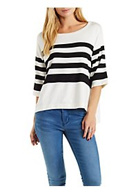 Quarter Sleeve Striped Sweater Top