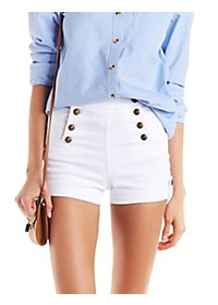Cello Buttoned Denim Sailor Shorts