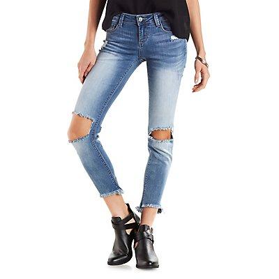 Cello Raw Hem Distressed Skinny Jeans