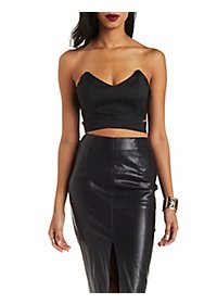 Sweetheart Neckline Cut-out Crop Top