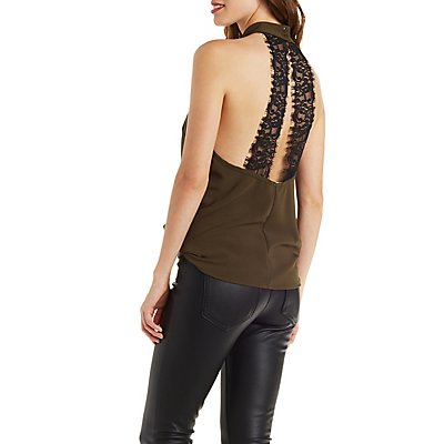 Mock Neck Halter Tank with Lace Back